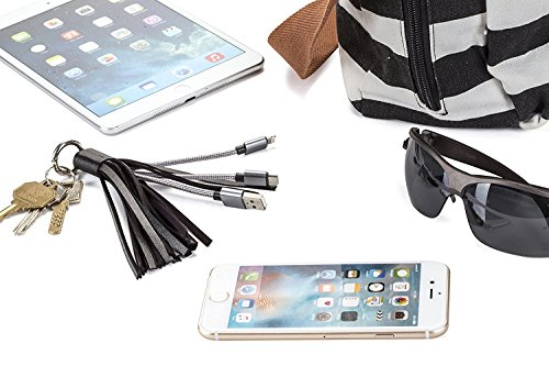 USB Leather Tassel Key Chain Charging Cable with Lightnin...