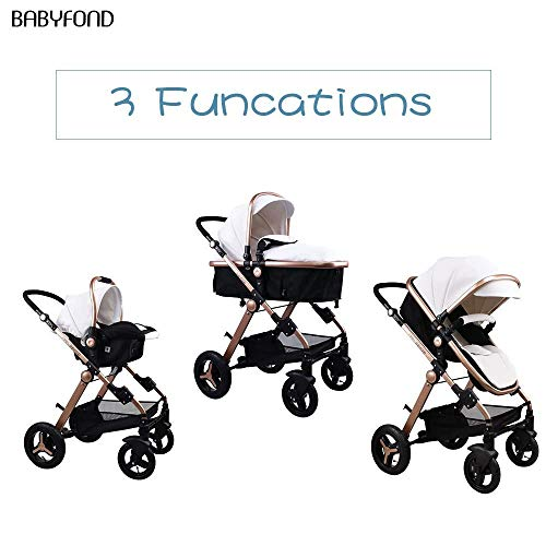 519O5O8Yc9L - Anti-Shock Luxury Baby Stroller 3 In 1,Babyfond Convertible Bassinet To Toddler Stroller,Reinforced Frame For Safety,Vista Pram,Quick Fold Baby Carriage(2020 Upgraded Version Black PU)