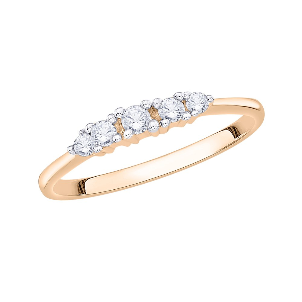 Diamond Wedding Band in 10K Pink Gold Size-3.25 G-H,I2-I3 1//6 cttw,