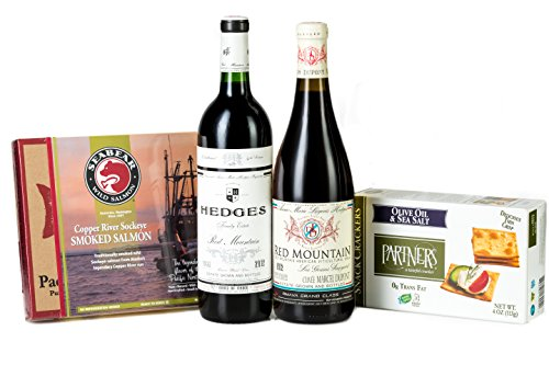 Hedges Family Estate The Red Mountain Picnic Gift Set with Copper River Smoked Salmon, Partners Crackers, 2 x 750 mL