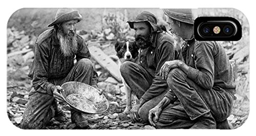 iPhone X Slim Case 3 Men And A Dog Panning For Gold C. 1889