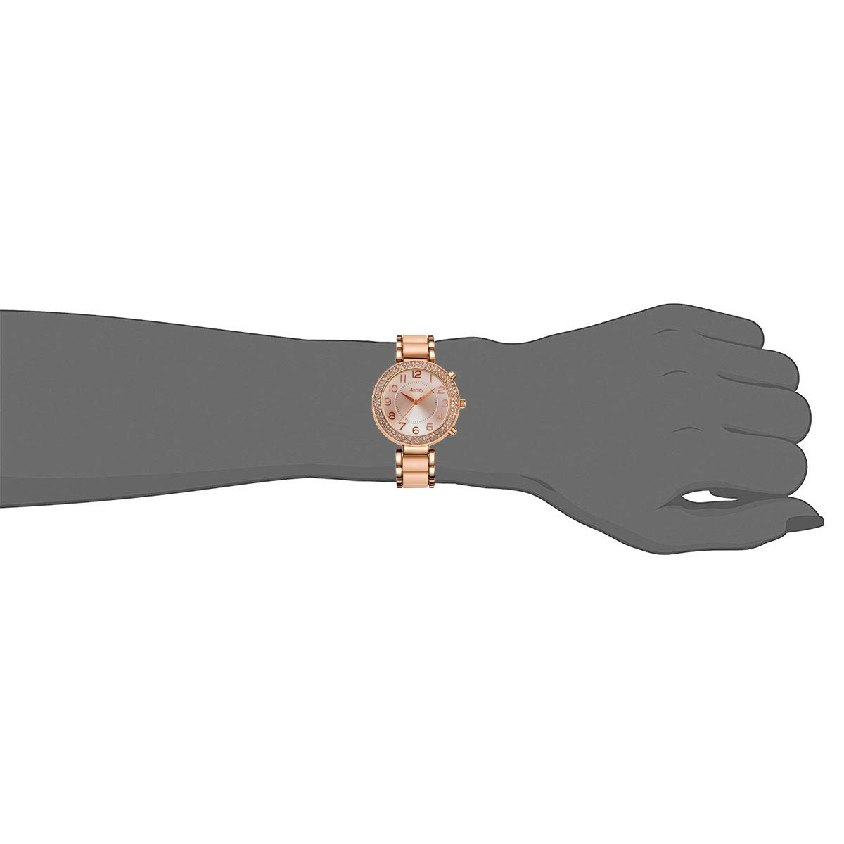 abrray analógico cuarzo Rhinestone caso tono dorado reloj de pulsera para mujer con números arábigos pantalla