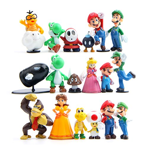 - 18 Pcs (1 Set ) Super Mario Bros Super Mary Princess, Turtle, Mushroom, Orangutan , Super Mary Action Figures, 1.2