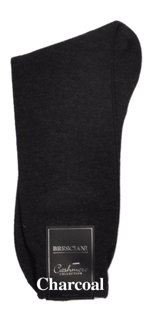 Bresciani Men's 100% Pure Cashmere Crew Dress Socks-1 Pair Charcoal