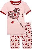 #5: shelry Summer Pajamas for Girls Shorts Set 100% Cotton Children PJS Pink Sleepwear