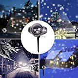 Pumsun Christmas Snowfall Lights Projector Lights Waterproof Sparkling White Snow Decor Lighting (Black)