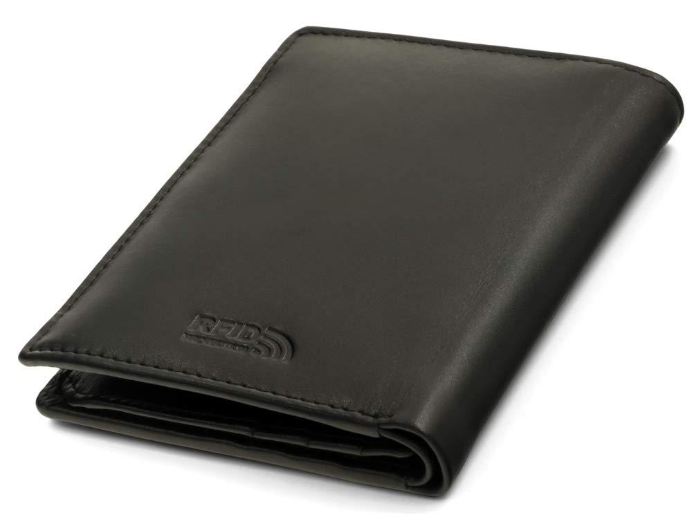 6ca514bb00263 Fa.Volmer ® Schwarze Ledergeldbörse aus echtem Leder in Hochformat mit TÜV  geprüftem RFID Schutz Phoenix 3  Amazon.de  Koffer