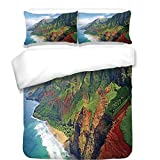 iPrint Duvet Cover Set,Hawaiian Decorations,Na Pali Coast Kauai Hawaii Seashore greenery Adventurous Journey Landscape Scenery,Best Bedding Gifts for Family Or Friends