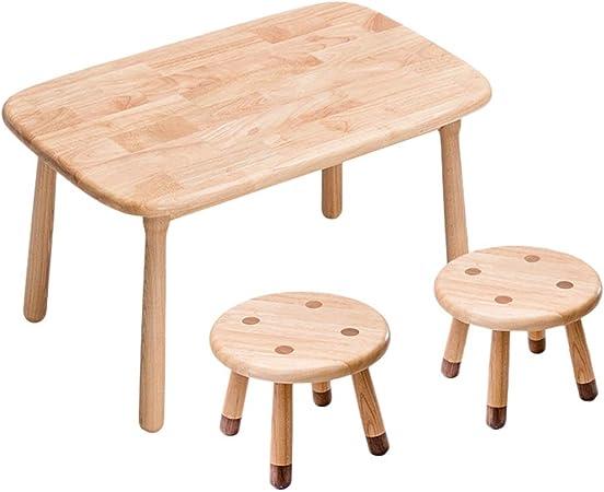 Juegos de mesas y sillas Mesa Infantil De Guardería Mesa De Estudio Multifunción De Madera Maciza Hogar 1 Mesa 2 Set De Sillas Mesa De Juego (Color : Brown, Size : 80 * 50 * 46cm): Amazon.es: Hogar