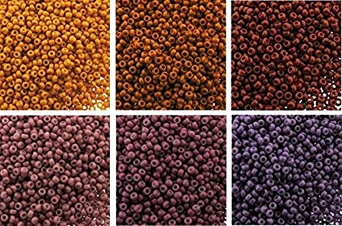 Sunset Ombre Bundle: 6 Color Mix Miyuki Round Rocaille Seed Beads Size 11/0, Each in 2