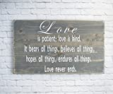 Kitchen Bar on Hope Street Gray Wood Sign - Love is patient wooden plaque  Bible Verse Wall Art