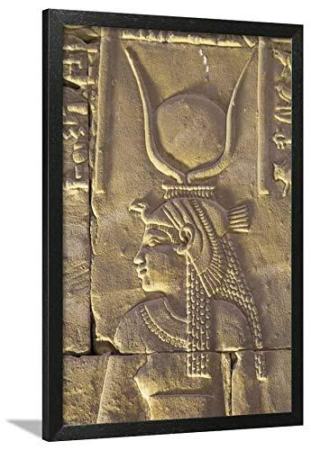 ArtEdge Relief Depicting The Goddess Hathor, Temple of Horus, Edfu, Egypt, North, Africa by Richard Maschmeyer, Wall Art Framed Print, 30x20, Black ()