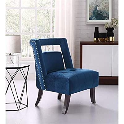 Brika Home Velvet Tufted Accent Chair in Navy