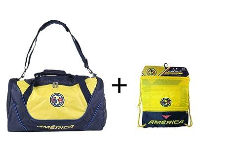 Club America Duffle Duffel Bag Gym + Club America Drawstring Cinch Sack Soccer (Navy)