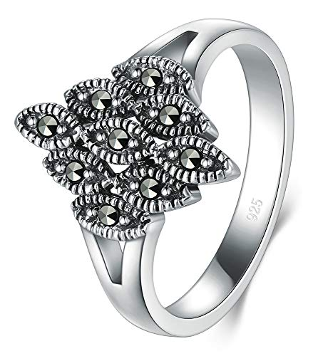 (BORUO 925 Sterling Silver Ring, Marcasite White Iron Pyrite Wedding Band Ring 3mm Size 9)