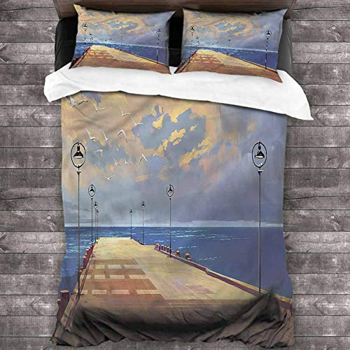 Jktown Fantasy Duvet Cover Set with Zipper Closure 3 Pieces Bridge Pier Sea Harbor 1 Duvet Cover 2 Pillowcases King (Harbor One Palm Pier)