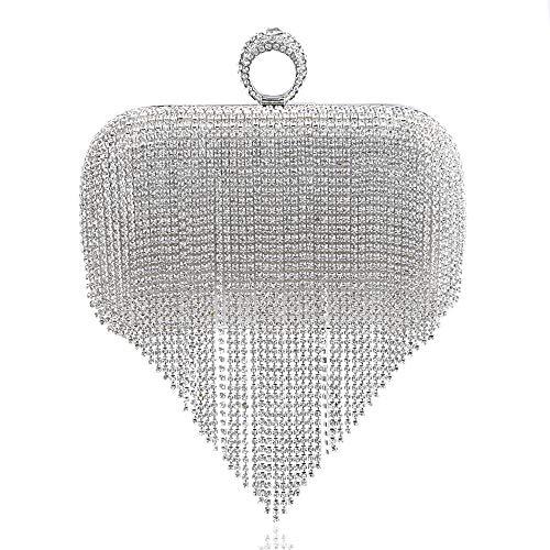 WSX Femme Sac Bandoulière Sac Sacs Fille Cheongsam d'embrayage Robe Gland De Silver De Sac qrwr1