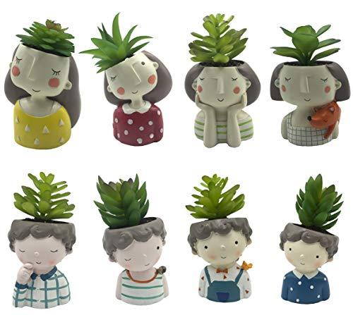 8 PCS Set Cute Flower Girls and Curly Hair Boys Shaped Succulent Cactus Flower Pot/Plant Pots/Planter/Container for Home Garden Office Desktop Decoration (Plants Not Included)