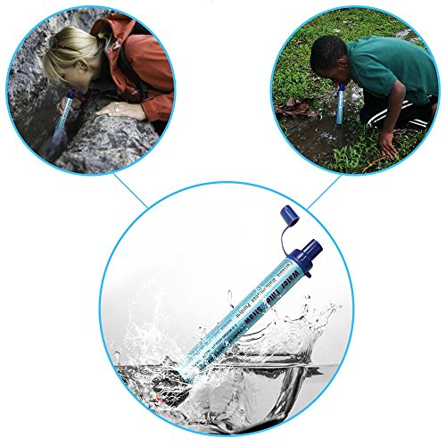 Personal Water Filter HuanLang 2000L Mini Portable Water Purifier Straw 0.01 Micron Outdoor Survival kit Emergency Gear Filter for Camping Hiking Sports Traveling Climbing Backpacking
