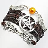 Bracelet, Angel Wings, Wing, Owls, Pagan and Wiccan, Dean Winchester, Supernatural, Star Bracelet,Friendship, Bridesmaid Gif (Brown)