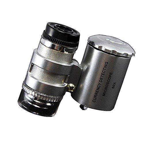 Tharv❤60x 9882 Handheld Mini Pocket Microscope Jeweler Magnifier LED Light Portable Silver ()