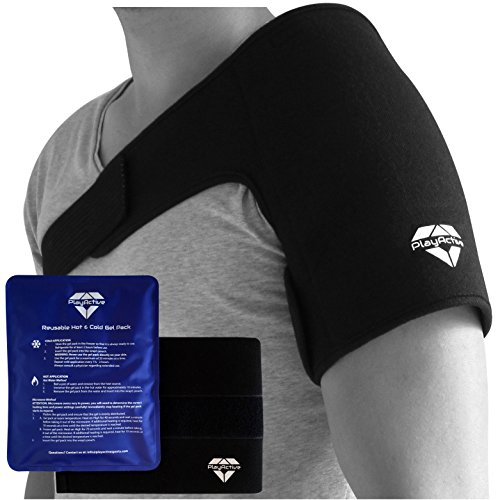 Shoulder Hot Cold Therapy Gel Ice Pack with 2x Wrap by PlayActive (Elite Kold Knee Ice Wrap)
