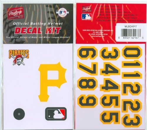 Pittsburgh Pirates MLB Batting Helmet Decal Kit (Includes Official Team Logos Stickers, MLB Logo & Numbers for Youth Little League Players to Adult Recreation Players