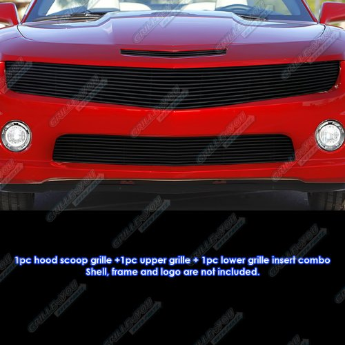 APS Compatible with 2010-2013 Chevy Camaro SS V8 Phantom Style Black Billet Grille Grill Insert Combo C61030H