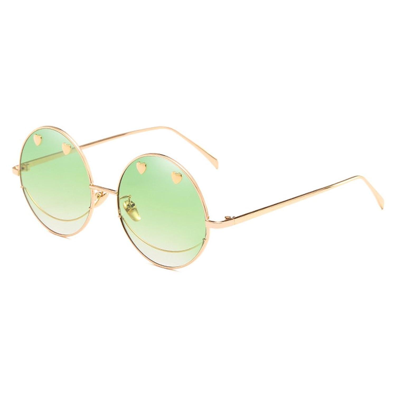 Gafas de sol sonrientes de la cara de Juleya Gafas de la lente de océano irregular redondo de las mujeres