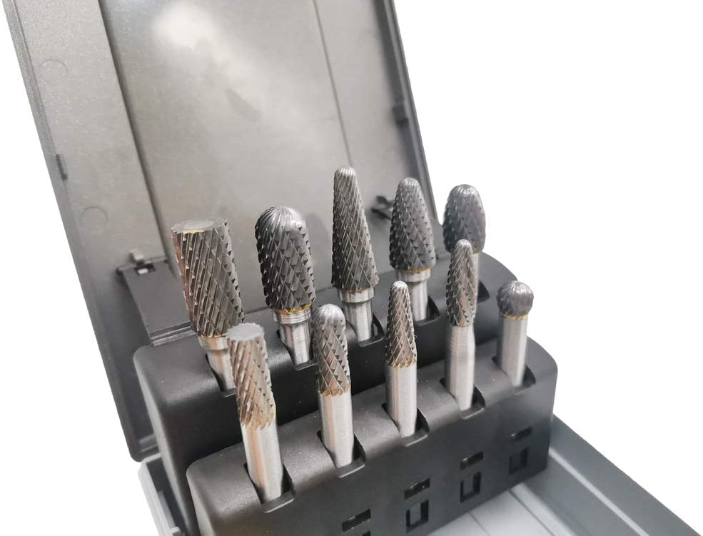 Carbide Burrs Set with 1//4 Shank Engraving Polishing Drilling 6.35mm 10pcs Double Cut Solid Carbide Die Grinder Bits for Die Grinder Drill,Metal Carving