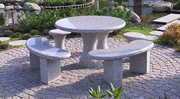 Gartentisch Granittisch Tisch Bodensee Rund Aus Hellgrauem