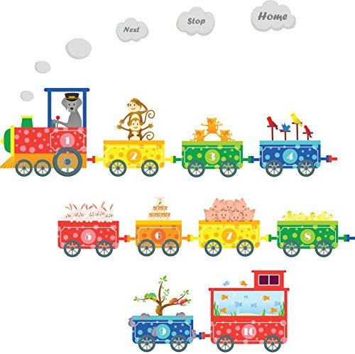 Numbers Pet Train Wall Decals - Fun and Educational Animals for Nursery and Kids Rooms - Easy Peel Wall - Border Blue Wallpaper Friends