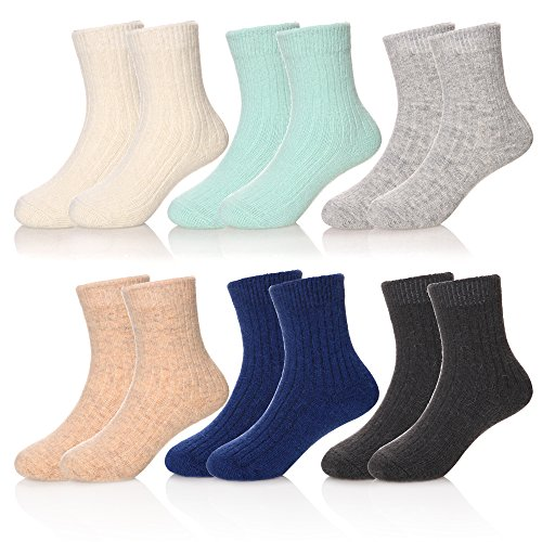 Smooth Cashmere - LINEMIN Children Cashmere Wool Winter Warm Socks For Kids Girls Boys Random Color 6 Pack (6-10 Year Old, 6 Pack Soild Color)