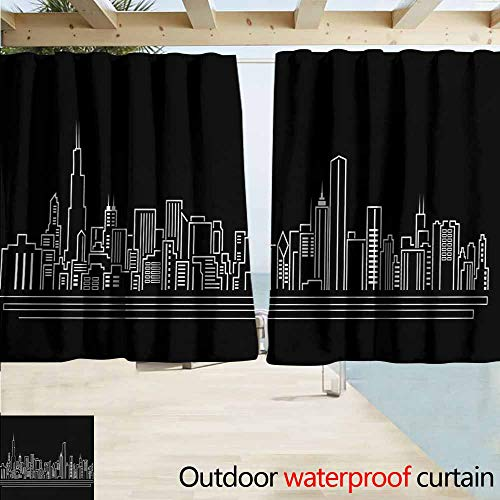 AndyTours Window Curtains,Chicago Skyline Line Abstract Style Urban Silhouette of Popular American Town Office Print,Draft Blocking Draperies,W55x39L Inches,Onyx White -