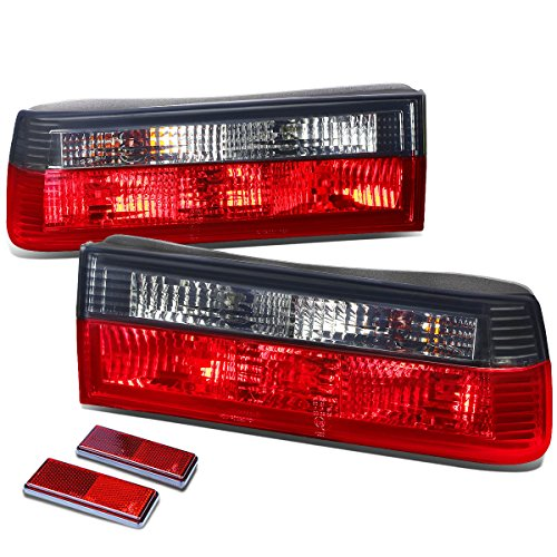 For BMW E30 3-Series Pair of Smoked Lens Red Rear Brake+Signal Tail Light