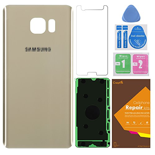 Back Glass Cover Back Battery Door Replacement for Samsung Galaxy Note 5 N9200 N920A N920P N920T N920R N920R4 with Adhesive and Opening Tool(Gold)