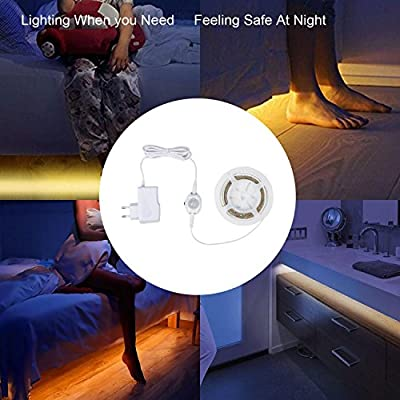 Motion Activated Bed Light Under bed Lighting Flexible LED Strip Motion Sensor Night Light Sensor led light Bedside Lamp Illumination with Automatic Shut Off Timer (Warm Soft Glow) Light LED