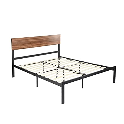 Amazoncom Greenforest Bed Frame Queen Size With Wood Slats Metal