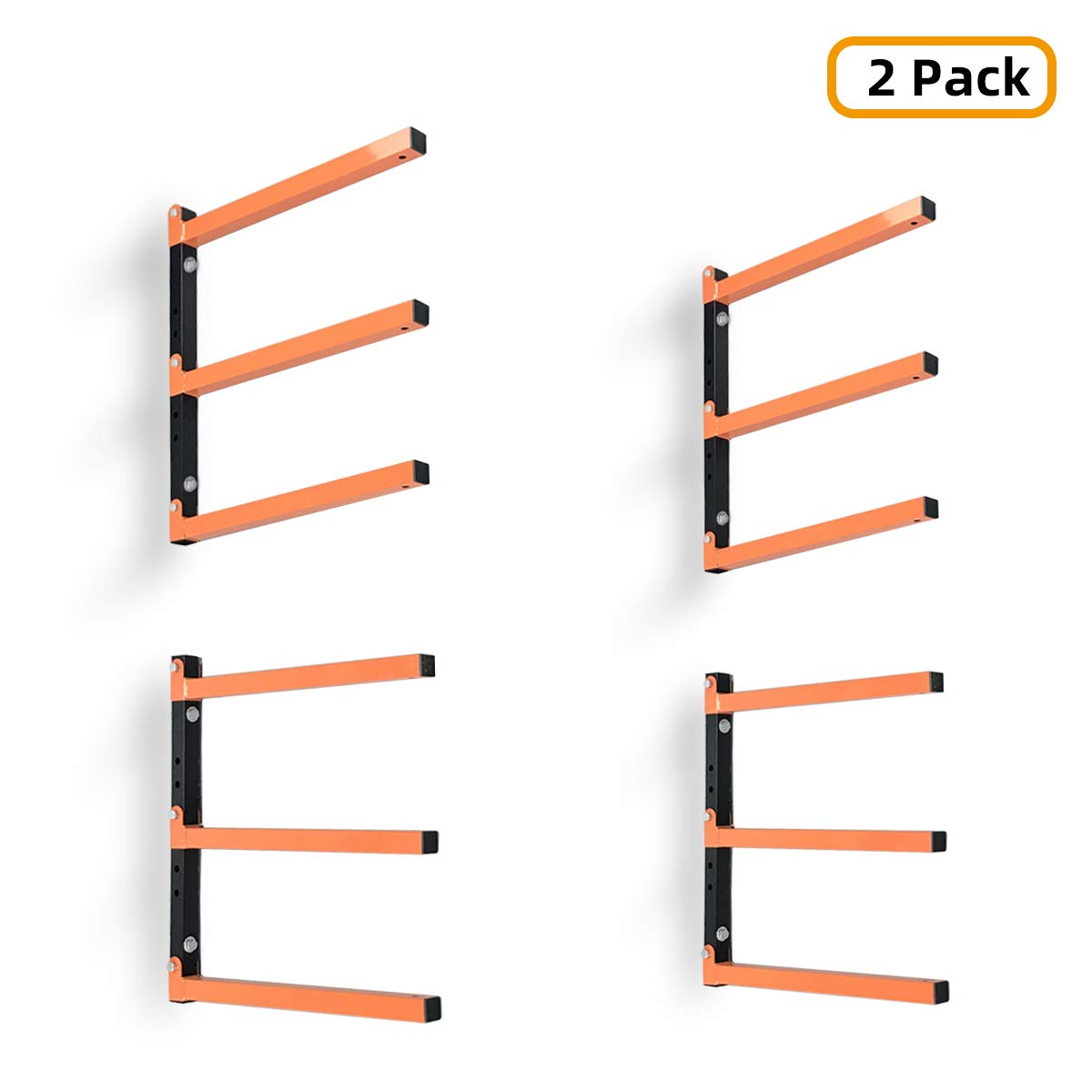 Homydom Wood Organizer and Lumber Storage Metal Rack with 3-Level Wall Mount, 2 Pack by Homydom