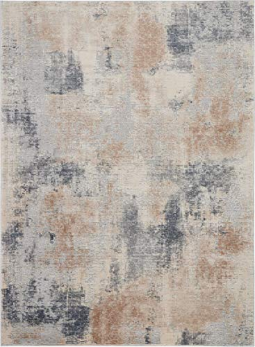 - Nourison RUS02 Rustic Textures Beige/Grey Area Rug 7'10