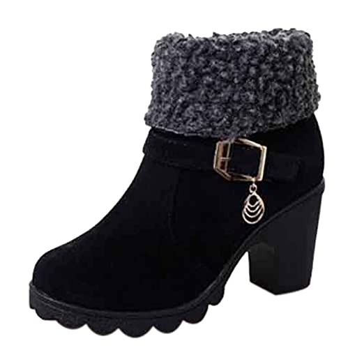 fc95e61402f Clearance ❤ Women Boots JJLIKER Fashion Vintege Short Platform Boots Winter  Warm Casual Flock Snow Boots