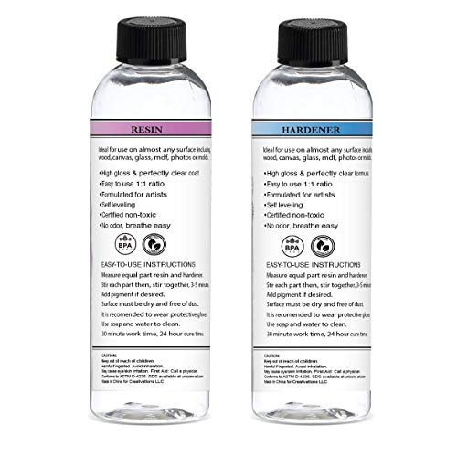 Resin Epoxy for Art - Perfectly Clear - Easy Mix 1:1 Ratio - Crystal Resin (32 oz.)