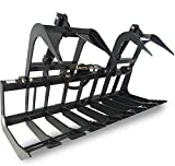 "72"" Root Grapple Bucket Skid Steer Tractor Loader Rock Brush Rake Bobcat Kubota"