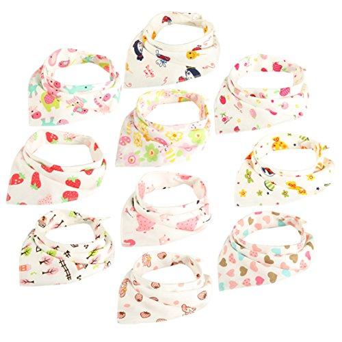 Duoqu Bandana Drool Bibs 10 Pack Soft Cotton Waterproof Best for Baby Girls