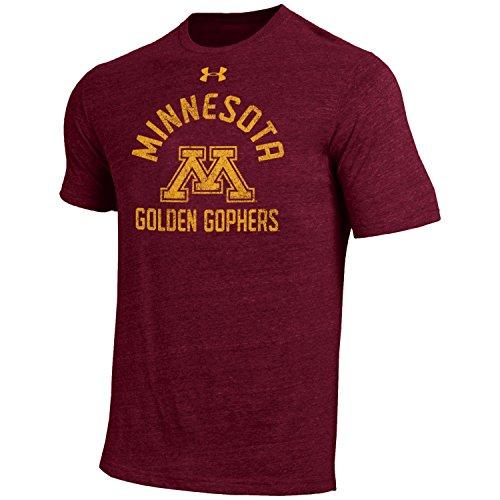 Under Armour NCAA Minnesota Golden Gophers Men's Short Sleeve Tri-Blend Tee, Maroon, (Minnesota Golden Gophers Apparel)
