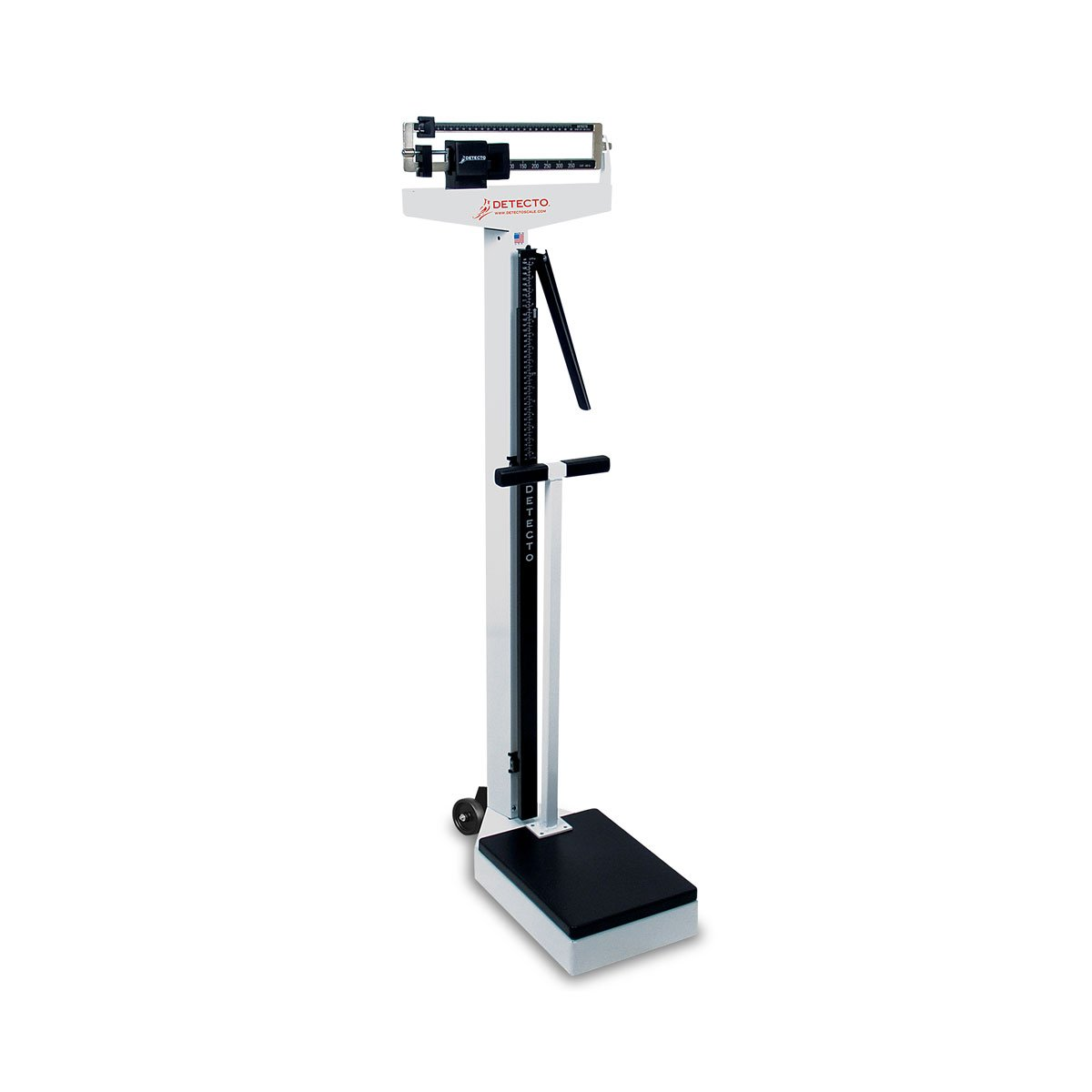 Detecto 448 Balance Beam Doctor/Physician Scale w/ Height Rod, Wheels & Hand Post, 400 lbs, Made in the USA