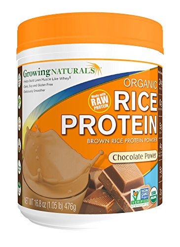 Growing Naturals Organic Rice Protein Powder, Chocolate, 16.8 Ounce