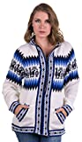 Gamboa White Alpaca Sweater with Zipper and Hood - Andean (X-Large)