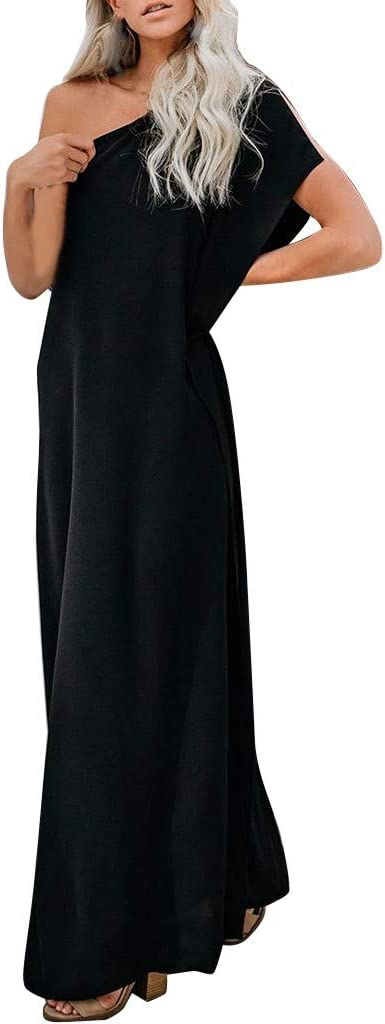 hositor Womens Dresses Ladies Casual Solid V-Neckline Roll Up The Sleeve Dress Splice Button Dress