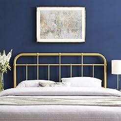 Bedroom Modway Alessia Modern Farmhouse Metal Queen Headboard in Gold farmhouse headboards